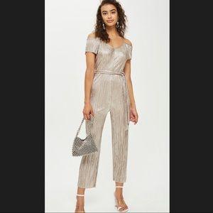 TOPSHOP Metallic silver plisse jumpsuit